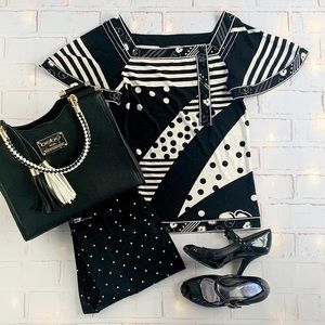 BCBG  black and white abstract patterned top